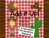 2 Digit Addition Center Bundle Western Theme