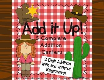 2 Digit Addition Center Bundle Western Theme