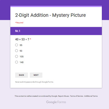 2-Digit Addition - Christmas EMOJI Mystery Picture - Google Forms