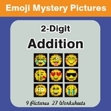 2-Digit Addition Color-By-Number EMOJI Mystery Pictures