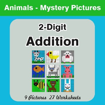 2-Digit Addition - Color-By-Number Mystery Pictures