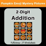 2-Digit Addition - Color-By-Number PUMPKIN EMOJI Mystery Pictures
