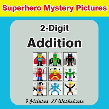 2-Digit Addition - Color-By-Number Superhero Mystery Pictures