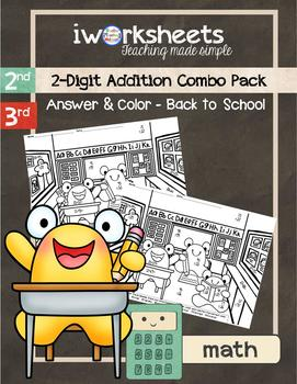 2-Digit Addition - Color-by-Answer Worksheets Combo Pack