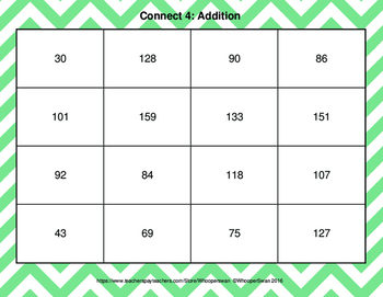 2-Digit Addition - Connect 4 Game