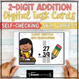 Two Digit Addition with Regrouping Digital BOOM Cards