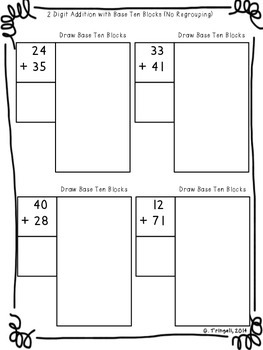 2 digit addition drawing base ten blocks worksheets by gretchen tringali. Black Bedroom Furniture Sets. Home Design Ideas
