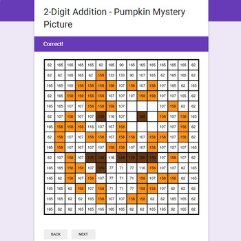 2-Digit Addition - EMOJI PUMPKIN Mystery Picture - Google Forms