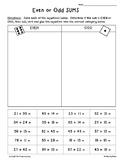 2-Digit Addition Even/Odd Sorting Activity -- 2 Leveled Worksheets