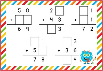 2 Digit Addition Fill in the Blank Puzzles