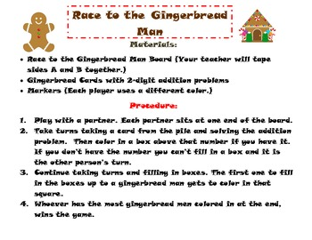 2-Digit Addition Game: Christmas/ Gingerbread Themed