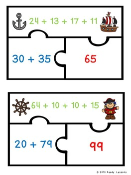 2 Digit Addition Game Puzzles Adding Four Two Digit Numbers 2nd Grade 2.NBT.6