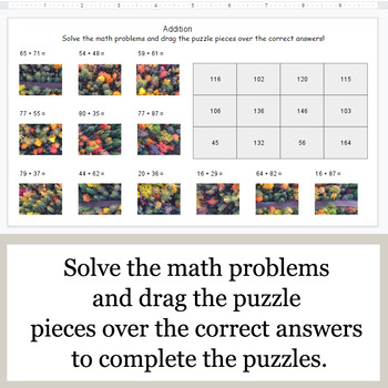 2-Digit Addition - Google Slides - Autumn Puzzles