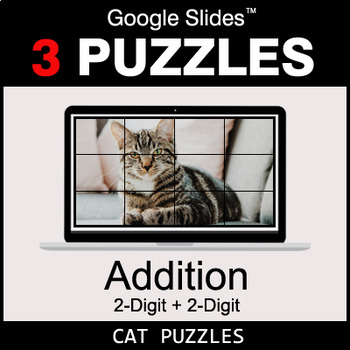 2-Digit Addition - Google Slides - Cat Puzzles