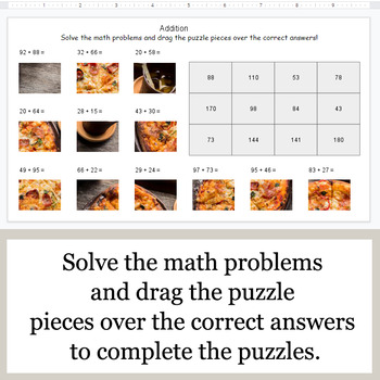 2-Digit Addition - Google Slides - Food Puzzles
