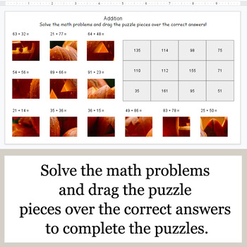 2-Digit Addition - Google Slides - Halloween Puzzles