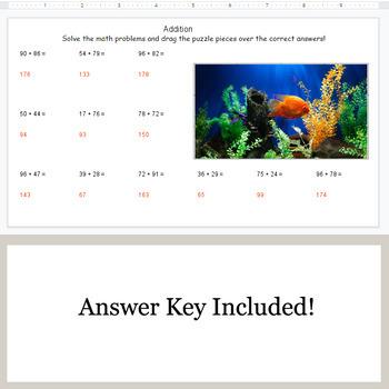 2-Digit Addition - Google Slides - Ocean Puzzles
