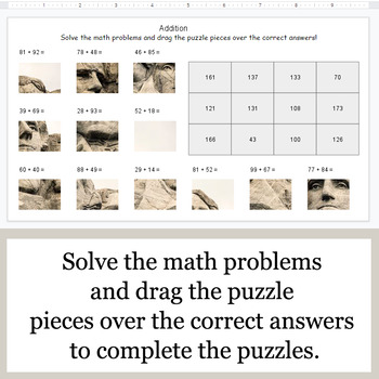 2-Digit Addition - Google Slides - President's Day Puzzles