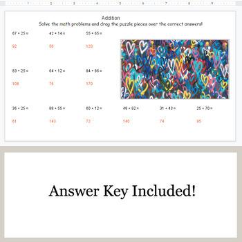 2-Digit Addition - Google Slides - Valentine's Puzzles