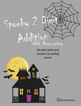 2 Digit Addition Halloween Task Cards
