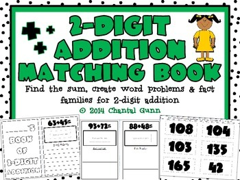 2-Digit Addition Matching Book {Hands-On! Cut & Glue and Create!}