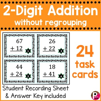 2 Digit Addition Task Cards without Regrouping