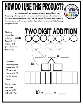 2 Digit Addition Mats for Mini Erasers