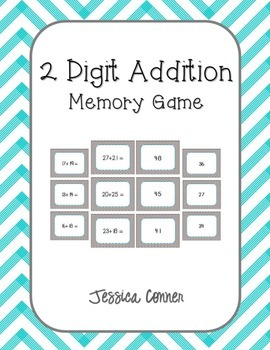 2 Digit Addition Memory Game