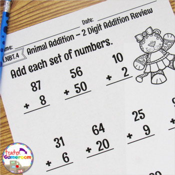 2 Digit Addition Mixed Review Worksheet