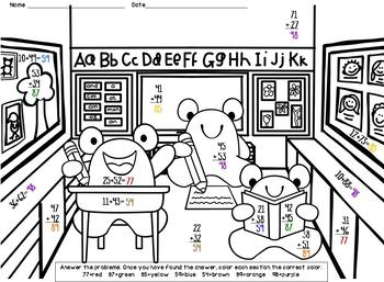2-Digit Addition - NO Regrouping - Color-by-Answer Worksheets