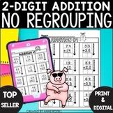2-Digit Addition No Regrouping Worksheets   Digital and Printable