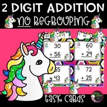 2 Digit Addition NO regrouping (Unicorn theme) Task Cards