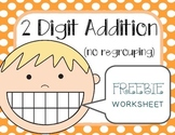 2 Digit Addition No Regrouping Worksheet FREEBIE
