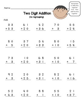 2 Digit Addition No Regrouping Worksheet FREEBIE by Anne Hofmann 1st ...