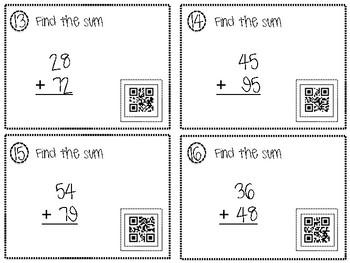 2 Digit Addition QR Task Cards