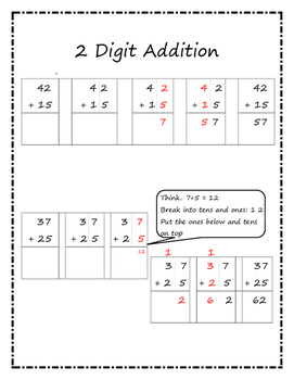 2 Digit Addition Reference Sheet