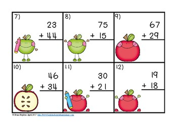 2 Digit Addition Regrouping Apple Task Cards