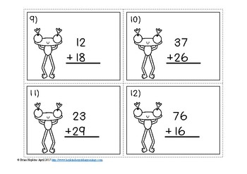 2 Digit Addition Regrouping Frogs Task Cards