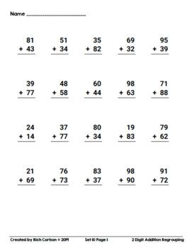 2 Digit Addition Regrouping Set 10! 5 Days of Addition Practice Homework!