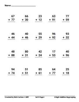 2 Digit Addition Regrouping Set 4! 5 Days of Addition Practice Homework!
