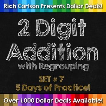 2 Digit Addition Regrouping Set 7! 5 Days of Addition Practice Homework!