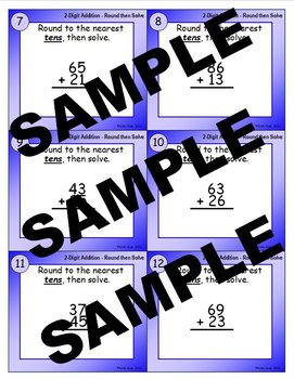 2-Digit Addition Round-then-Solve Task Cards