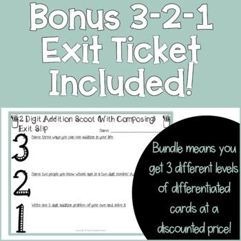 2 Digit Addition SCOOT Task Cards Bundle (3 sets)