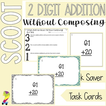 2 Digit Addition SCOOT Task Cards Without Composing (aka regrouping)