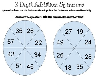 2 Digit Addition SPINNER GAME  (2.NBT.5)