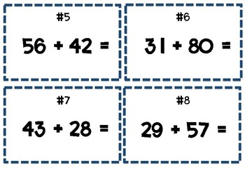 2 Digit Addition Scoot! 28 Task Cards