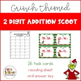 2 Digit Addition Scoot - Grinch Themed