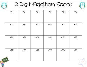 2 Digit Addition Scoot- With and Without Regrouping (2 Games)