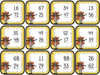 "2-Digit Addition ""Scoot!""/Thanksgiving ""Gobble!"" (with/without regrouping)"