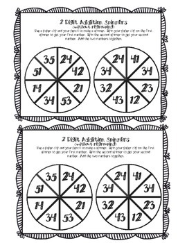 2 Digit Addition Spinners (without regrouping)